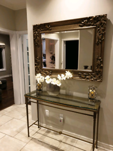 Glass top table set. Console, coffee table and 2 side tables.