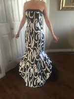 Strapless black and white evening dress - size 8
