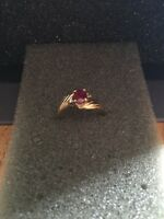 10 carat yellow gold ruby and diamond birthstone ring