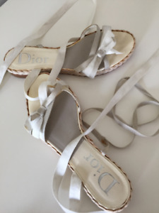 DIOR - LACE UP GLADIATOR SANDALS - OFF WHITE AND PEARL GREY