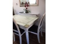 Marble dining / kitchen table and 4 leather chairs SOLD