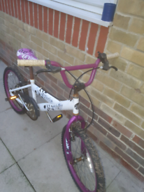 Purple ans white girls BMX bike