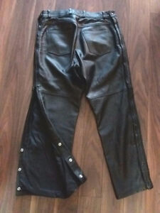"""Leather Motorcycle Pants Mens  34"""" / Women's"""