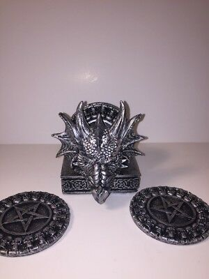 NEW Silver Dragon Head Coaster Set Skulls & Pentagram Coasters Gothic Halloween