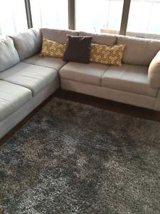 """EQ3 high pile """"shag"""" grey area rug"""