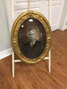 Antique Easel and Picture Frame (bowed glass)