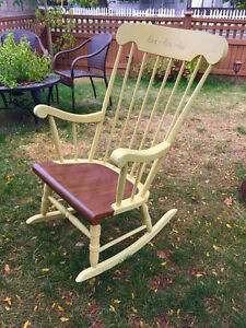 Hand painted honey colour rocking chair