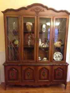 Complete Dining Table Suite - Table, 6 Chairs, and China Cabinet