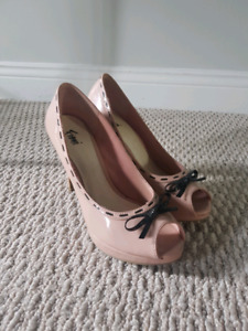 Pink open toe high heels size 8.5