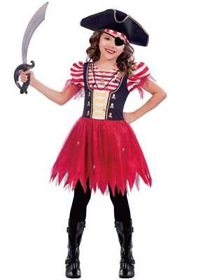 Child High Seas Pirate Costume Buccaneer Girl Fancy Dress Kids Caribbean Outfit