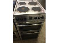 Beko Slim Stainless Steel Electric Cooker 50cm Wide, hard hobs,
