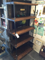Industrial shelf with black pipe leg
