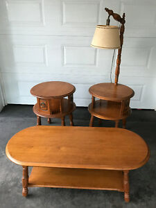 Coffee table, side table and table with lamp attached