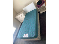 Single divan bed complete with white headboard £79