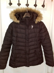 U.S POLO ASSN. black puffer with removable hood