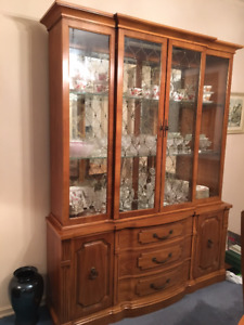 1960's vint. wood dining set (china cabinet, table, 6 chairs)