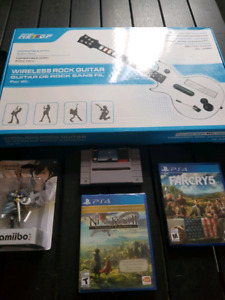 Amiibo chrom + guitar hero wii + jeux ps4 + Final snes