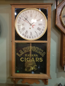 3 Antique Wall Clocks - La Reforma Havana Cigars - All Working