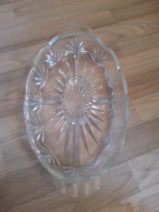 Large Heavy Glass Dish with 5 compartments