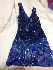 Blue Sequined Flapper Style Dress