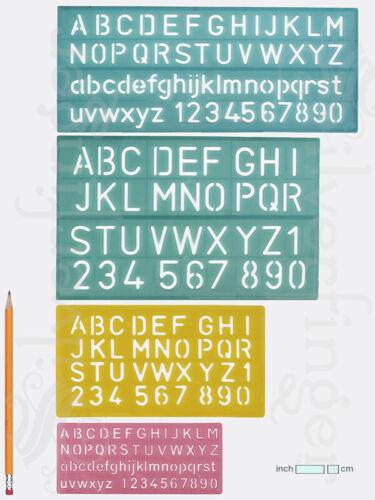 4pc LETTER NUMBER STENCIL KIT SET 4Sizes Plastic Stencils Lettering Art Template