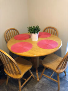 Solid Wood Drop-Leaf Dining Table and Chairs