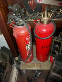 2 vintage fire extinguishers