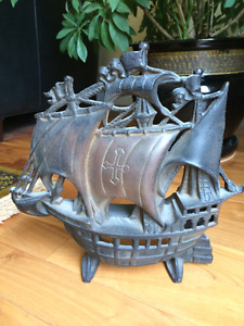 Cast Iron Tall Ship - 12 1/2 inches tall