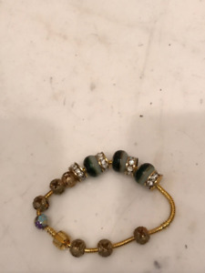 Pandora Style Bead Charm Bracelet Gold New
