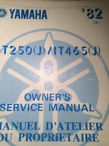 1982 Yamaha IT250J/IT465J Owners Service Manual Regina Regina Area image 1