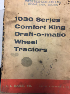 Case Operator's Manual for 1030 Comfort King Tractor