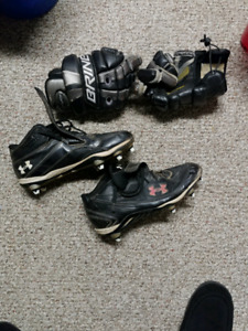 Lacrosse gloves and cleats
