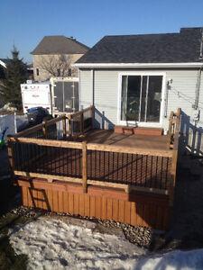 Terrasse bois traité brun ou vert de qualité RBQ:8100-9656-21 West Island Greater Montréal image 2