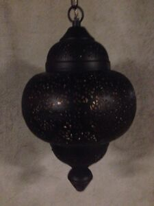 Moroccan lamp and poufs