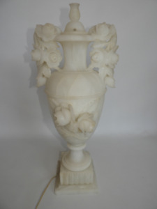 a circa 1940's carved alabaster lamp in a classical urn