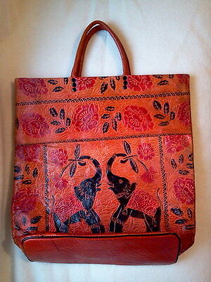 NEW LEATHER ELEPHANT SHOPPING BAG LINED ZIP CLOSURE FROM CZECH REPUBLIC
