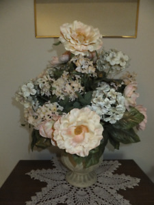 "FOR SALE Floral Arrangement 16""x20"" high cream/salmon green in c"