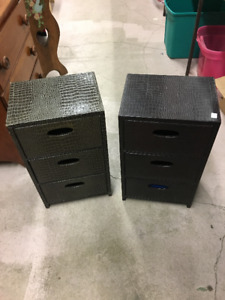 Faux leather decorative end tables or bedside tables