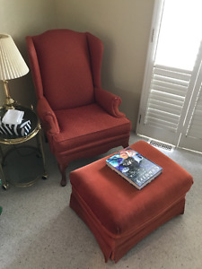 Wingback Chair and Footstool