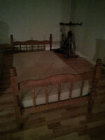 Single bed, headboard, footboard, rails and mattress