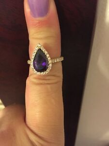 Gold Amethyst and crystal ring