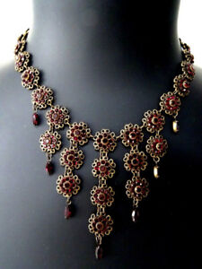 GATSBY diamante waterfall necklace RED RHINESTONE BIB glitz glam