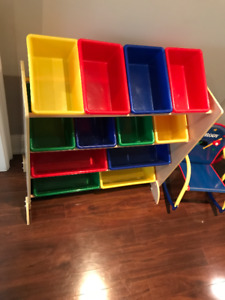 Kids 3 shelf with plastic storage containers