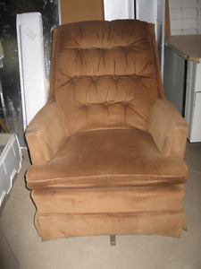 free swivel rocker, black leatherette chair and ottoman