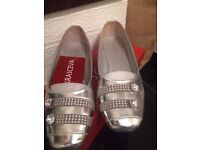 Silver slipper shoes