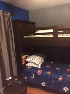 Solid Wood Bookcase Bunk Beds