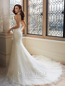 wedding dress - sophia tolli amira y11625 & matching custom veil