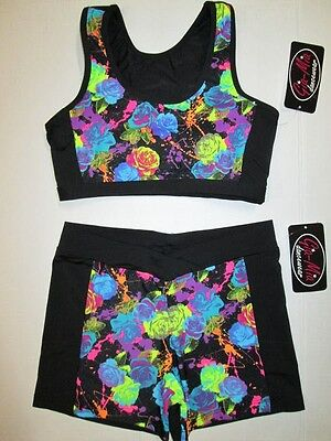 NEW Crop Bra Top Shorts Set Size MC Medium Child Black Lot of 2 Dance Gymnastics