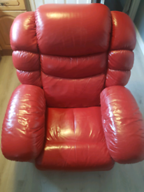 Lazy boy Red Leather Recliner Chair With Massage, Heat And Fridge