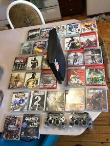 CONSOLE PS3 + 27 jeux (Gros titres...)  120 $ $ $ $ AUBAINE